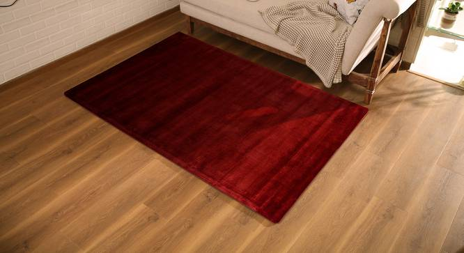 "Rubaan Viscose Rug (152 x 244 cm  (60"" x 96"") Carpet Size, Garnet Red) by Urban Ladder - Design 1 Full View - 219148"