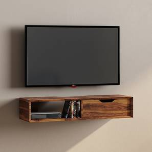 Sawyer Wall Mounted TV Unit (Teak Finish, With Drawer Configuration) by Urban Ladder - Design 1 Full View - 219196