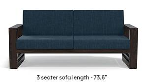Parsons Wooden Sofa - American Walnut Finish (Indigo Blue)
