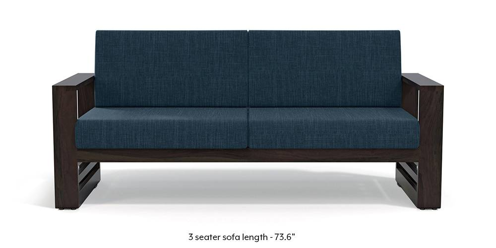 Parsons Wooden Sofa - American Walnut Finish (Indigo Blue) (1-seater Custom Set - Sofas, None Standard Set - Sofas, American Walnut Finish, Indigo Blue, Fabric Sofa Material, Regular Sofa Size, Regular Sofa Type) by Urban Ladder - - 219254