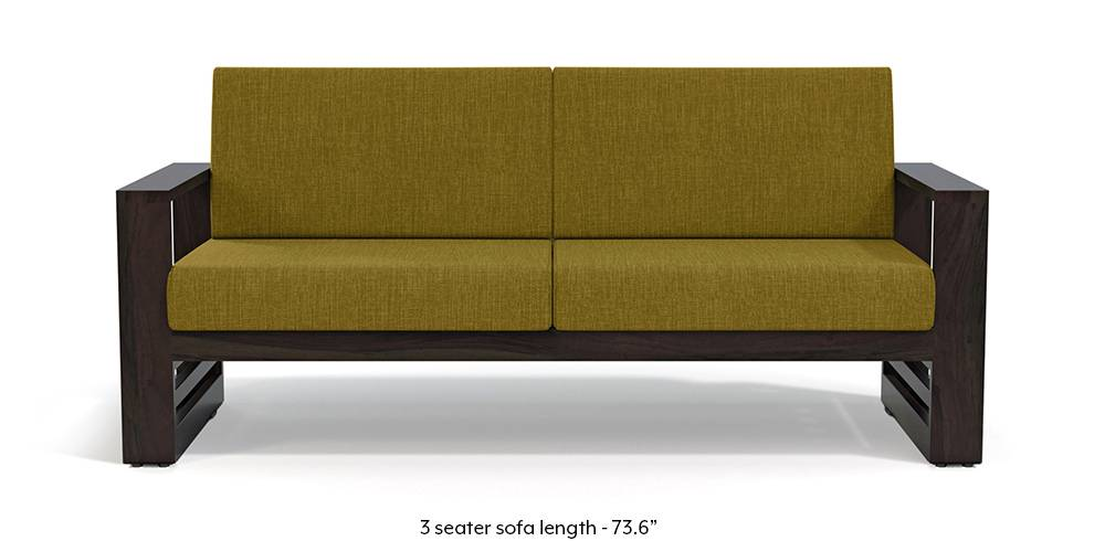 Parsons Wooden Sofa - American Walnut Finish (Olive Green) (1-seater Custom Set - Sofas, None Standard Set - Sofas, American Walnut Finish, Olive Green, Fabric Sofa Material, Regular Sofa Size, Regular Sofa Type) by Urban Ladder