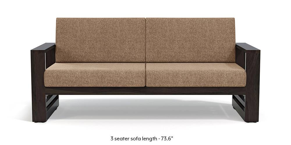 Parsons Wooden Sofa - American Walnut Finish (Safari Brown) (1-seater Custom Set - Sofas, None Standard Set - Sofas, American Walnut Finish, Fabric Sofa Material, Regular Sofa Size, Regular Sofa Type, Safari Brown) by Urban Ladder