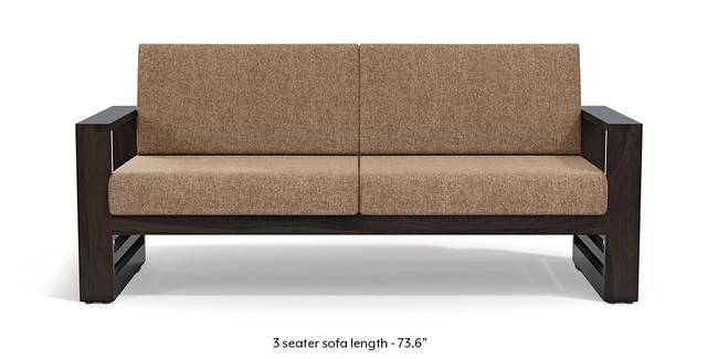 Parsons Wooden Sofa - American Walnut Finish (Safari Brown) (1-seater Custom Set - Sofas, None Standard Set - Sofas, American Walnut Finish, Fabric Sofa Material, Regular Sofa Size, Regular Sofa Type, Safari Brown)