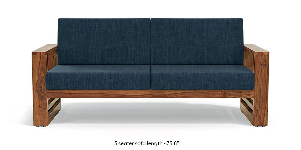 Parsons Wooden Sofa - Teak Finish (Indigo Blue) by Urban Ladder