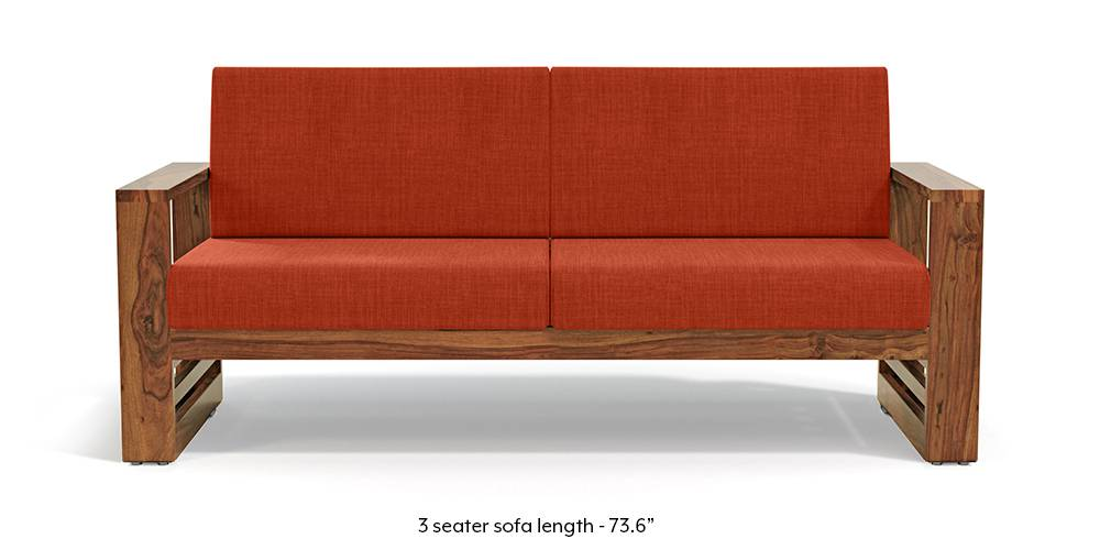 Parsons Wooden Sofa - Teak Finish (Lava) (Teak Finish, 1-seater Custom Set - Sofas, None Standard Set - Sofas, Lava, Fabric Sofa Material, Regular Sofa Size, Regular Sofa Type) by Urban Ladder - - 219413