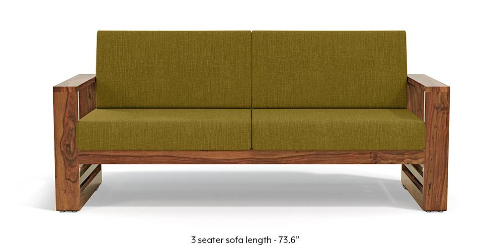 Parsons Wooden Sofa - Teak Finish (Olive Green) (Teak Finish, 1-seater Custom Set - Sofas, None Standard Set - Sofas, Olive Green, Fabric Sofa Material, Regular Sofa Size, Regular Sofa Type) by Urban Ladder - - 219438
