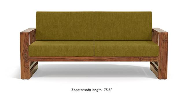 Parsons Wooden Sofa - Teak Finish (Olive Green) (Teak Finish, 1-seater Custom Set - Sofas, None Standard Set - Sofas, Olive Green, Fabric Sofa Material, Regular Sofa Size, Regular Sofa Type)
