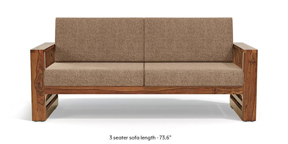 Parsons Wooden Sofa - Teak Finish (Safari Brown) (Teak Finish, 1-seater Custom Set - Sofas, None Standard Set - Sofas, Fabric Sofa Material, Regular Sofa Size, Regular Sofa Type, Safari Brown) by Urban Ladder - - 219463
