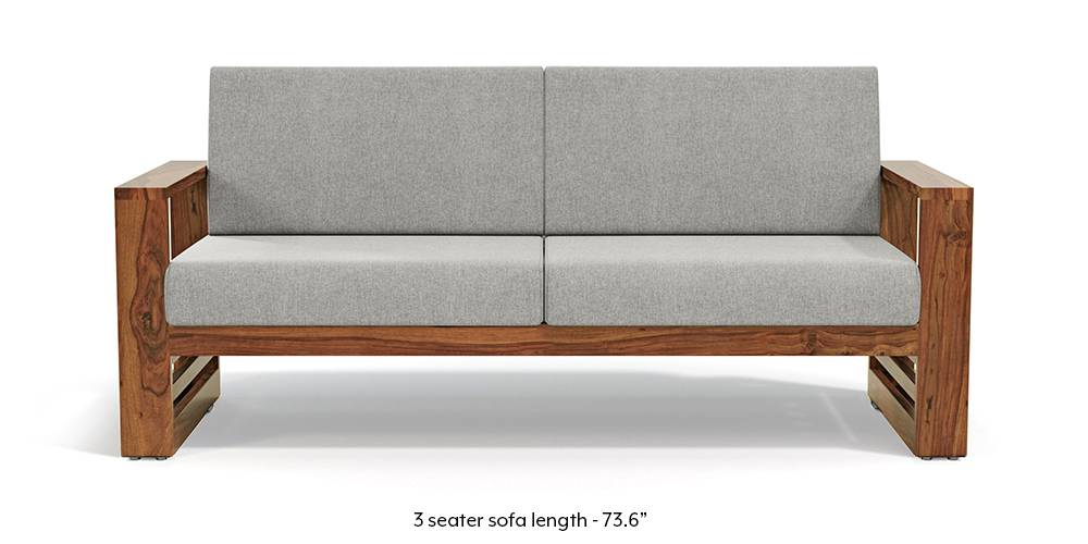 Parsons Wooden Sofa - Teak Finish (Vapour Grey) (1-seater Custom Set - Sofas, None Standard Set - Sofas, American Walnut Finish, Fabric Sofa Material, Regular Sofa Size, Regular Sofa Type, Vapour Grey) by Urban Ladder - - 219488