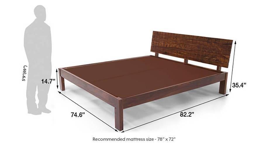 Valencia bed teak finish king bed size dim016