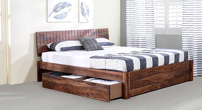 Valencia Storage Bed (Solid Wood) (Teak Finish, King Bed Size, Drawer Storage Type) by Urban Ladder - Design 1 Full View - 219584