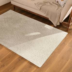 "Sherwood Super Soft Shaggy Rug (91 x 152 cm  (36"" x 60"") Carpet Size, Ivory) by Urban Ladder - Design 1 Full View - 219629"