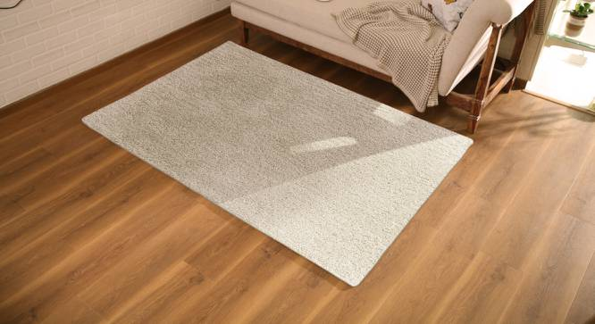"Sherwood Super Soft Shaggy Rug (122 x 183 cm  (48"" x 72"") Carpet Size, Ivory) by Urban Ladder - Design 1 Full View - 219635"