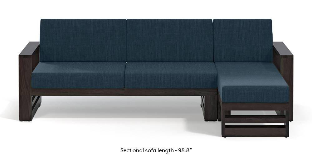 Parsons Wooden Sectional Sofa - American Walnut Finish (Indigo Blue) (None Standard Set - Sofas, Indigo Blue, Fabric Sofa Material, Regular Sofa Size, Sectional Sofa Type, Left Aligned 3 seater + Chaise Custom Set - Sofas) by Urban Ladder - - 219647