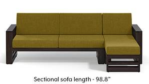 Parsons Wooden Sectional Sofa - American Walnut Finish (Olive Green)