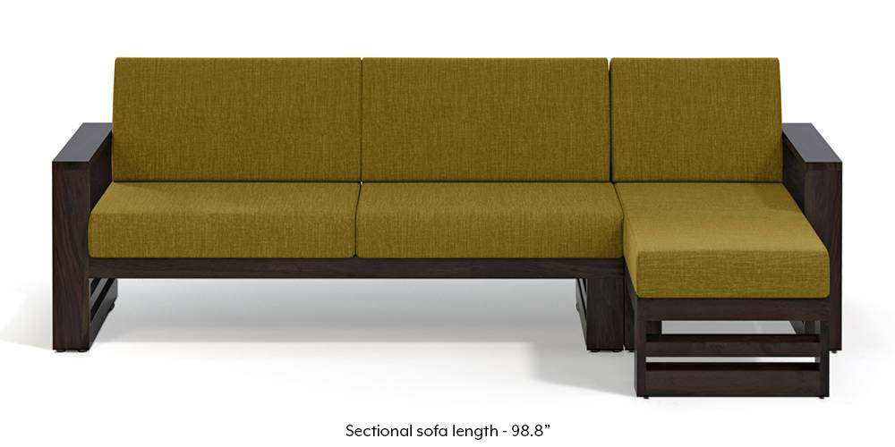 Parsons Wooden Sectional Sofa - American Walnut Finish (Olive Green) (None Standard Set - Sofas, Olive Green, Fabric Sofa Material, Regular Sofa Size, Sectional Sofa Type, Right Aligned 3 seater + Chaise Custom Set - Sofas) by Urban Ladder