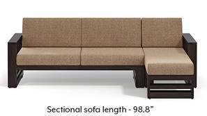 Parsons Wooden Sectional Sofa - American Walnut Finish (Safari Brown)