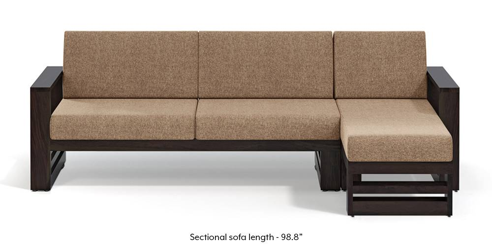 Parsons Wooden Sectional Sofa - American Walnut Finish (Safari Brown) (None Standard Set - Sofas, Fabric Sofa Material, Regular Sofa Size, Sectional Sofa Type, Right Aligned 3 seater + Chaise Custom Set - Sofas, Safari Brown) by Urban Ladder