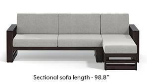 Parsons Wooden Sectional Sofa - American Walnut Finish (Vapour Grey)