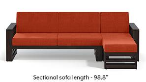 Parsons Wooden Sectional Sofa - American Walnut Finish (Lava Rust)