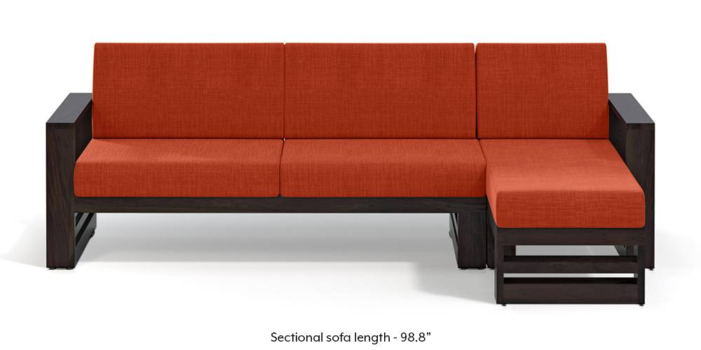 Parsons Wooden Sectional Sofa - American Walnut Finish (Lava Rust) (None Standard Set - Sofas, Lava, Fabric Sofa Material, Regular Sofa Size, Sectional Sofa Type, Right Aligned 3 seater + Chaise Custom Set - Sofas) by Urban Ladder - - 219707