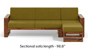 Parsons Wooden Sectional Sofa - Teak Finish (Olive Green)