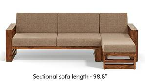 Parsons Wooden Sectional Sofa - Teak Finish (Safari Brown)