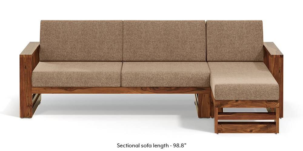 Parsons Wooden Sectional Sofa - Teak Finish (Safari Brown) (None Standard Set - Sofas, Fabric Sofa Material, Regular Sofa Size, Sectional Sofa Type, Right Aligned 3 seater + Chaise Custom Set - Sofas, Safari Brown) by Urban Ladder