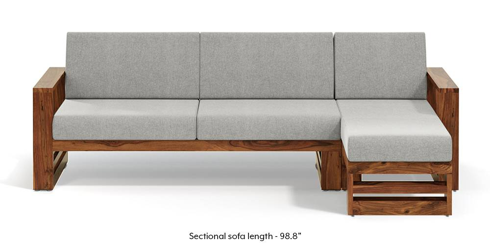 Parsons Wooden Sectional Sofa - Teak Finish (Vapour Grey) (None Standard Set - Sofas, Fabric Sofa Material, Regular Sofa Size, Sectional Sofa Type, Right Aligned 3 seater + Chaise Custom Set - Sofas, Vapour Grey) by Urban Ladder