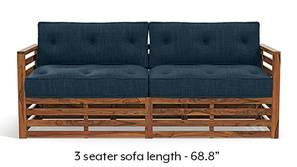 Raymond Wooden Sofa - Teak Finish (Indigo Blue)