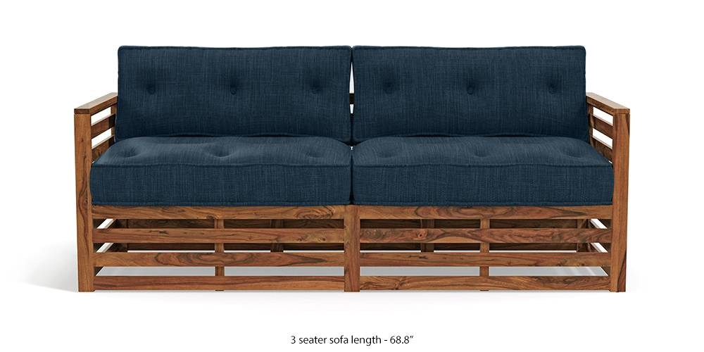 Raymond Low Wooden Sofa - Teak Finish (Indigo Blue) by Urban Ladder