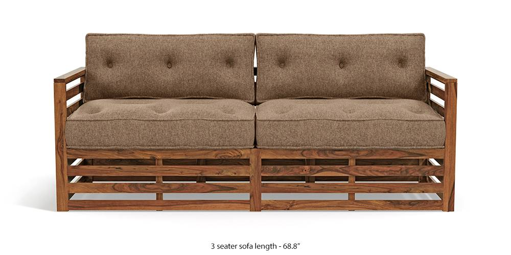 Raymond Wooden Sofa - Teak Finish (Safari Brown) (Teak Finish, 3-seater Custom Set - Sofas, None Standard Set - Sofas, Fabric Sofa Material, Regular Sofa Size, Regular Sofa Type, Safari Brown) by Urban Ladder - - 220088
