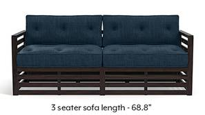 Raymond Wooden Sofa - American Walnut Finish (Indigo Blue)