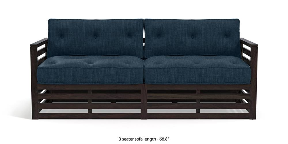 Raymond Low Wooden Sofa - American Walnut Finish (Indigo Blue) by Urban Ladder