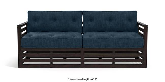 Raymond Wooden Sofa - American Walnut Finish (Indigo Blue) (1-seater Custom Set - Sofas, 3-seater Custom Set - Sofas, None Standard Set - Sofas, None Standard Set - Sofas, American Walnut Finish, American Walnut Finish, Indigo Blue, Indigo Blue, Fabric Sofa Material, Fabric Sofa Material, Regular Sofa Size, Regular Sofa Size, Regular Sofa Type, Regular Sofa Type)