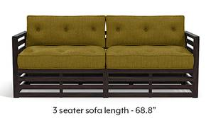 Raymond Wooden Sofa - American Walnut Finish (Olive Green)
