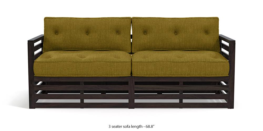 Raymond Low Wooden Sofa - American Walnut Finish (Olive Green) by Urban Ladder