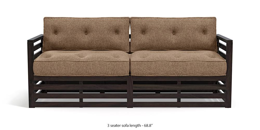 Raymond Wooden Sofa - American Walnut Finish (Safari Brown) (2-seater Custom Set - Sofas, 3-seater Custom Set - Sofas, None Standard Set - Sofas, None Standard Set - Sofas, American Walnut Finish, American Walnut Finish, Fabric Sofa Material, Fabric Sofa Material, Regular Sofa Size, Regular Sofa Size, Regular Sofa Type, Regular Sofa Type, Safari Brown, Safari Brown) by Urban Ladder - - 220273