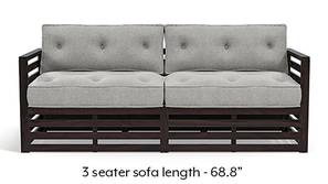 Raymond Wooden Sofa - American Walnut Finish (Vapour Grey)