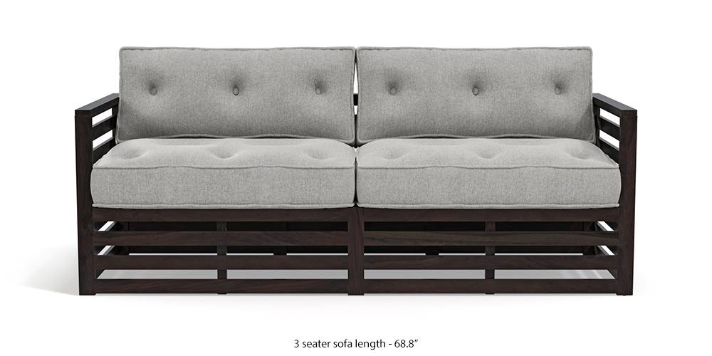 Raymond Low Wooden Sofa - American Walnut Finish (Vapour Grey) by Urban Ladder