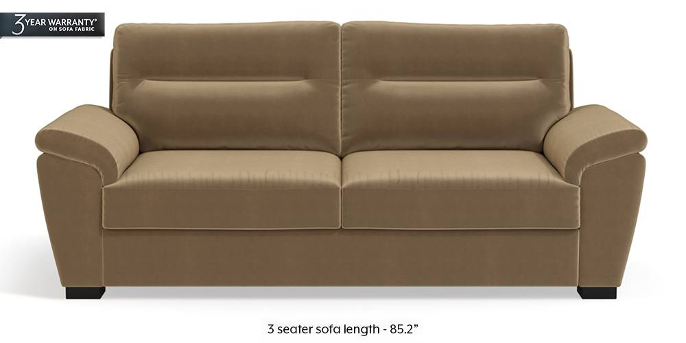 Adelaide Sofa (Tuscan Tan Velvet) (1-seater Custom Set - Sofas, None Standard Set - Sofas, Fabric Sofa Material, Regular Sofa Size, Regular Sofa Type, Tuscan Tan Velvet) by Urban Ladder