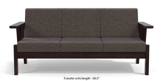 Glen Wooden Sofa (Grey) (Grey, 1-seater Custom Set - Sofas, None Standard Set - Sofas, Dark Walnut Finish, Fabric Sofa Material, Regular Sofa Size, Regular Sofa Type)