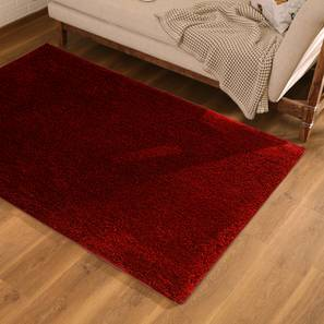 "Sherwood Super Soft Shaggy Rug (Red, 122 x 183 cm  (48"" x 72"") Carpet Size) by Urban Ladder - Design 1 Full View - 222282"