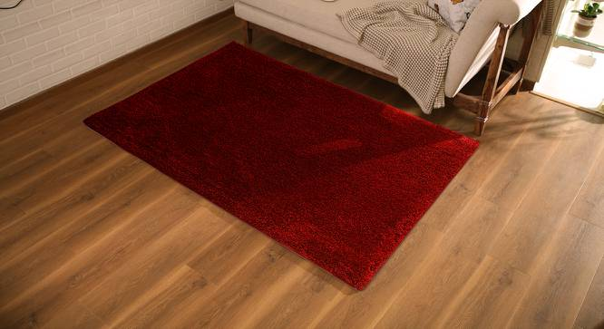 "Sherwood Shaggy Rug (Red, 60"" x 96"" Carpet Size) by Urban Ladder"