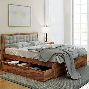 Florence Storage Bed (Solid Wood) (Teak Finish, King Bed Size, Monochrome Paisley, Drawer Storage Type) by Urban Ladder - Design 1 Full View - 222567