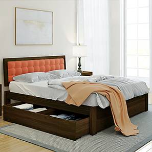 Florence Storage Bed (Solid Wood) (Mahogany Finish, Queen Bed Size, Lava, Drawer Storage Type) by Urban Ladder - Design 1 Full View - 222578