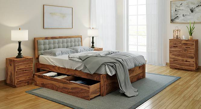 Florence Storage Bed (Solid Wood) (Teak Finish, Queen Bed Size, Monochrome Paisley, Drawer Storage Type) by Urban Ladder - Design 1 Full View - 222589