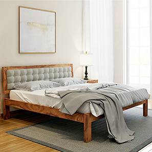 Florence Bed (Teak Finish, King Bed Size, Monochrome Paisley) by Urban Ladder