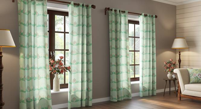 "Tree of Life Door Curtains  (Set of 2) (Multi Colour, 54"" x 108"" Curtain Size, Groove Pattern) by Urban Ladder"