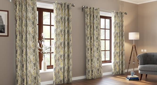 """Nusa Jacquard Door Curtains (Set of 2) (Multi Colour, 54"""" x 108"""" Curtain Size) by Urban Ladder"""
